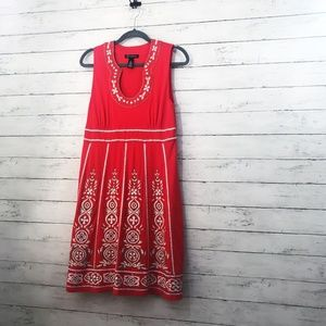 International Concepts Red Embroidered Dress - L